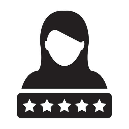 Star rating icon for social credit system vector female user person profile avatar symbol for in a glyph pictogram illustration