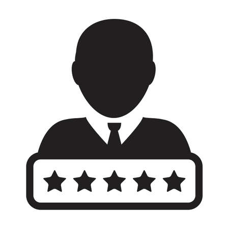 Credit score icon social 5 star rating vector male user person profile avatar symbol for in a glyph pictogram illustration