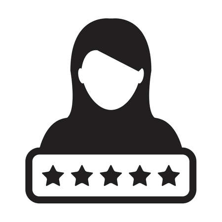 Credit score icon social 5 star rating vector female user person profile avatar symbol for in a glyph pictogram illustration