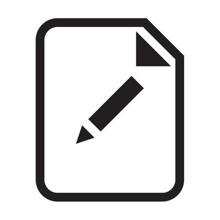 Edit document file icon vector with editing symbol for business application data and finance in a outline glyph pictogram illustration