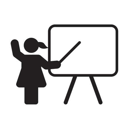 School teacher icon vector female person with white board for education symbol in a flat color glyph pictogram illustration