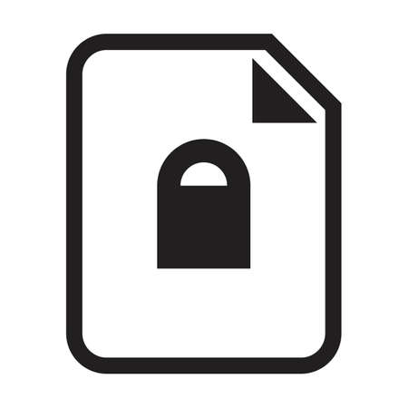 Secured document icon vector with lock file for business application data and finance in a outline glyph pictogram illustration 向量圖像