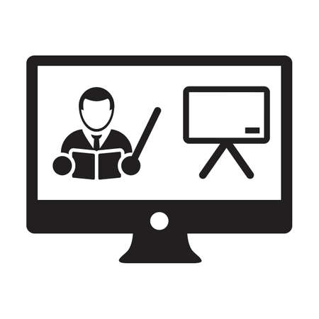Online learning icon vector teacher symbol with computer monitor and whiteboard for online education class in a glyph pictogram illustration 向量圖像