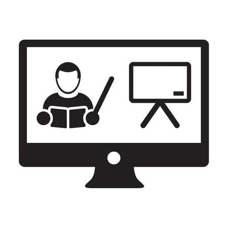 Online class icon vector teacher symbol with computer monitor and whiteboard for online education course in a glyph pictogram illustration 向量圖像