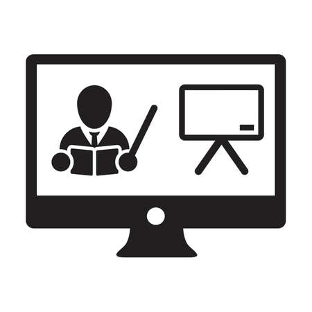 Online course icon vector teacher symbol with computer monitor and whiteboard for online education class in a glyph pictogram illustration