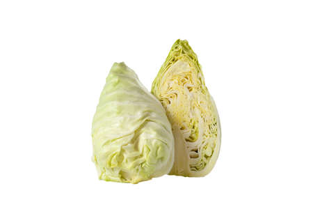 Freshness pointed cabbage cutting half on white background isolated. The shape is more conical, a milder flavour and tender texture. Eatable ras as salad , stir fire or steamed.