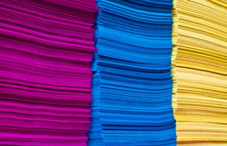 colored paper: stack of colorful papers