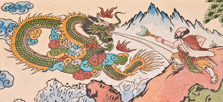 human and dragon painting on chinese temple wall