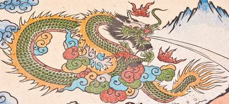 dragon painting on chinese temple wall