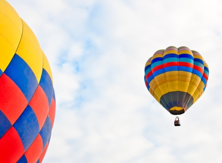 colorful hot air balloons on sky background photo