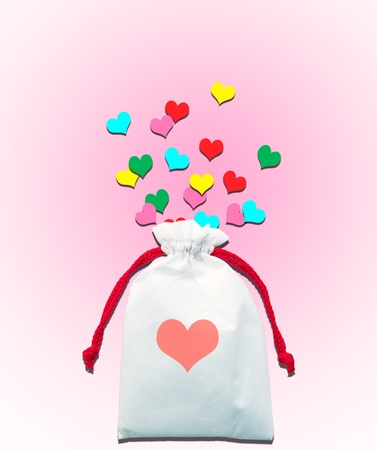bag cartoon: heart gift bag with colorful heart