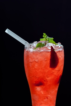 strawberry cocktail isolated on black background photo