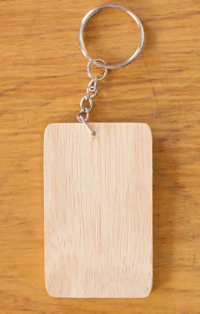 wooden tag on wood table photo