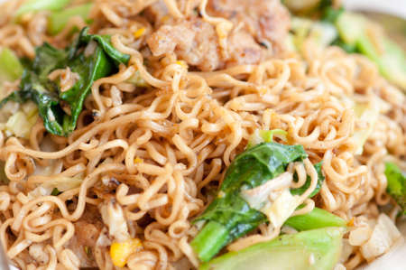 cooked instant noodles in thai style photo