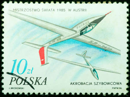 REPUBLIC OF POLAND - CIRCA 1985  a stamp printed by Republic of Poland, shows white airplanes in the sky, circa 1985 photo
