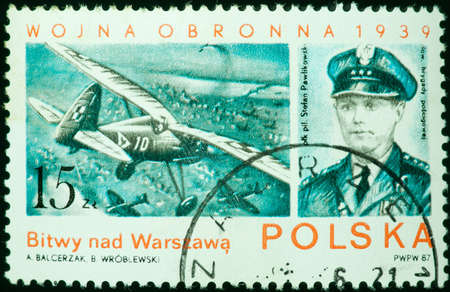 REPUBLIC OF POLAND - CIRCA 1939  a stamp printed by Republic of Poland, shows airplane and captain, circa 1939 photo