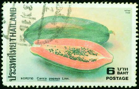 THAILAND - CIRCA 1986  a stamp printed by Thailand, shows image of papaya, circa 1986 photo
