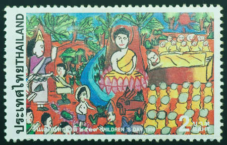 post stamp: THAILAND - CIRCA 1996  a stamp printed by Thailand, shows image of buddha, circa 1996 Stock Photo