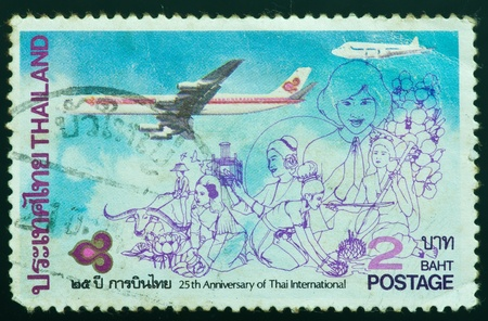 air animals: THAILAND - CIRCA 1985  a stamp printed by Thailand, shows 25th Anniversary of Thai International, circa 1985
