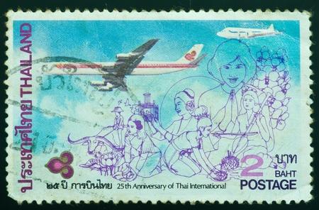THAILAND - CIRCA 1985  a stamp printed by Thailand, shows 25th Anniversary of Thai International, circa 1985