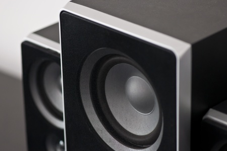 black sound speakers in living room photo