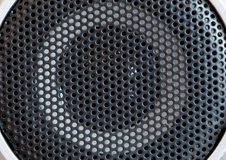 cd player: black sound speakers, macro shot Stock Photo