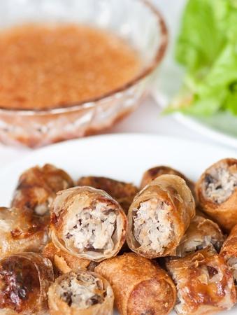 egg roll: crispy spring rolls, thai-vietnamese food style