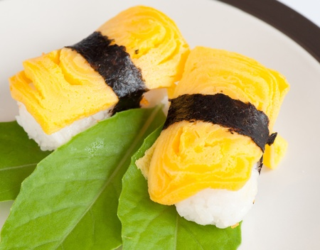 omelette: egg sushi, japanese food closeup Stock Photo