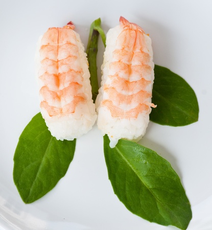 top view of shrimp sushi, japanese food photo