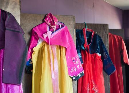 korean culture: colorful korean traditional clothes, hanbok