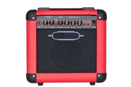 red guitar amplifier isolated on white background Stock Photo - 14016014