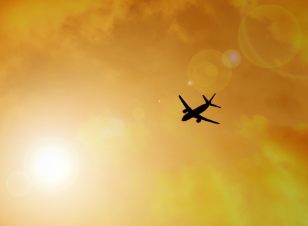silhouette of plane, flying to freedom concept photo