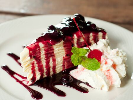 homemade style: blueberry crepe cake in the cafe, homemade style