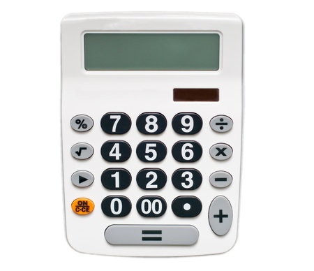 white calculator isolated on white Stock Photo - 15387351