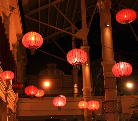 illuminated chinese lanterns photo