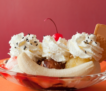 banana split ice cream on the restaurant table photo