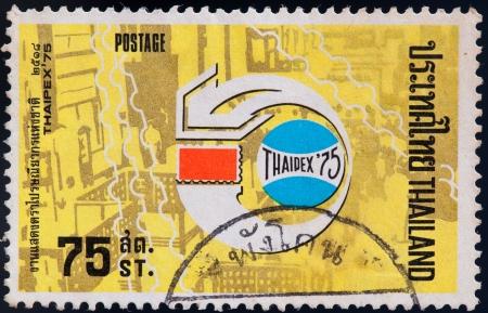THAILAND - CIRCA 1975: a stamp printed by Thailand, shows Thaipex75 logo, circa 1975