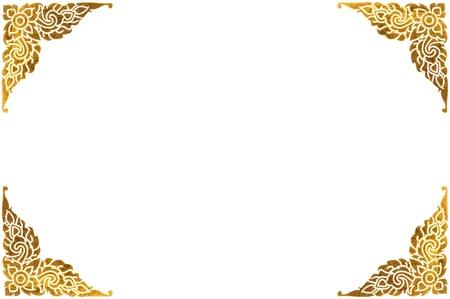 伝統的なタイ ゴールデン フレーム白で隔離