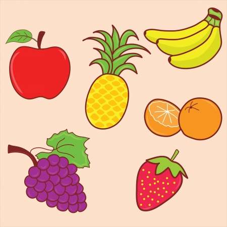 fruit doodle set, hand drawing photo