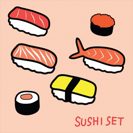 日本料理: 寿司セット落書き, 手描き