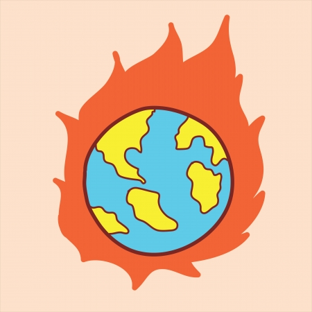 cartoon world: global warming concept, doodle hand drawing Illustration