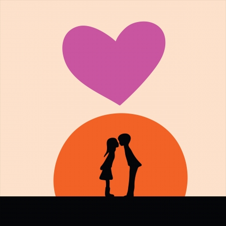 kiss silhouette, sunset sky, hand drawing Vector