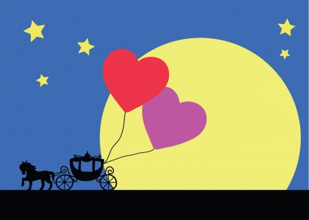horse carriage silhouette in valentine Vector