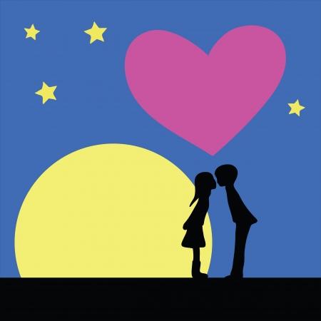 heart under: kiss at night under moon light Illustration