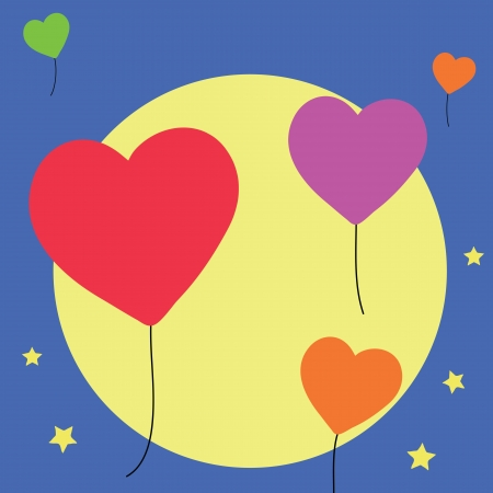 heart balloons with fullmoon background Vector