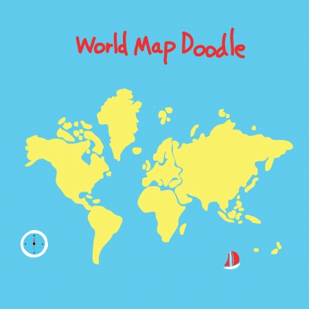 cartoon world: world map doodle, hand drawing