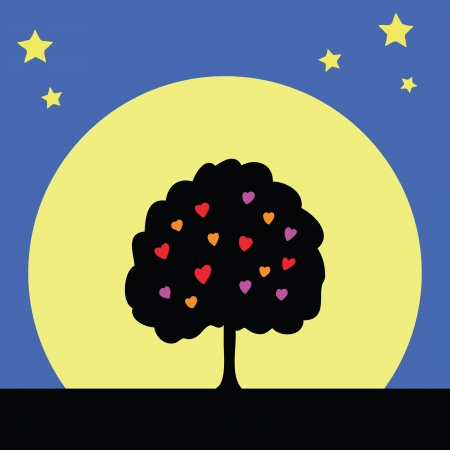full day: silhouette tree of love with full moon Illustration
