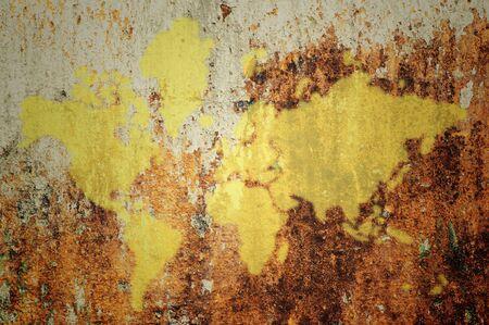 oversea: world map on grunge wall background
