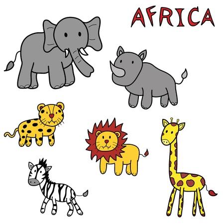 lion drawing: animals of africa doodle set Illustration