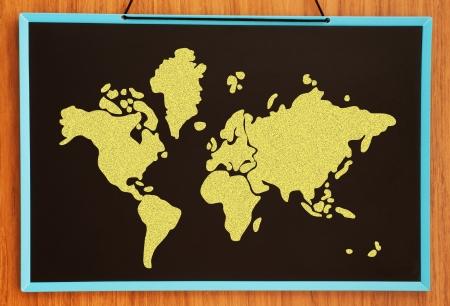 oversea: world map on chalkboard